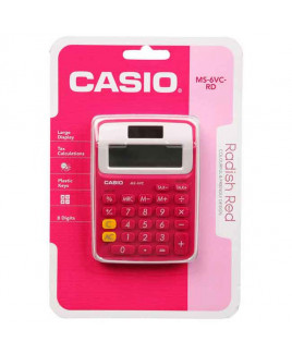CASIO Mini Desk Calculator-MS-6 VC -RD
