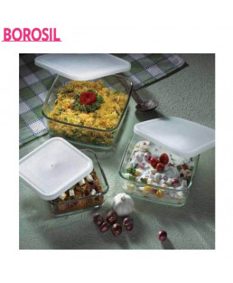 Borosil 0.5+0.8+1.6 Ltr Set Of 3 Square Dish With Plastic Lid-IH22DH15626