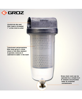 Groz High Flow 10 Micron Fuel Filter-FF/FFL/10-WB/ST