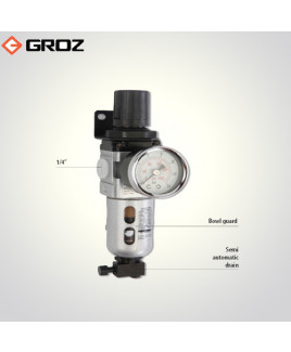"Groz 1/4"" BSP Filter Regulator Combination With Pressure Gauge-FRC136134-S/GB"