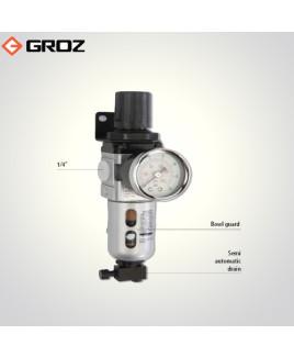 """Groz 1/4"""" BSP Filter Regulator Combination With Pressure Gauge-FRC136134-S/GB"""