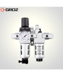 "Groz 1/4"" BSP Filter - Regulator & Lubricator - 2 Pc with Pressure Gauge-FRCLM136134-S/G"