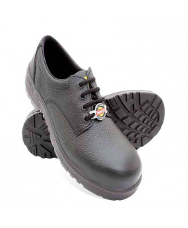 Liberty Size-10 Warrior Black Leather Safety Shoes -7198-01