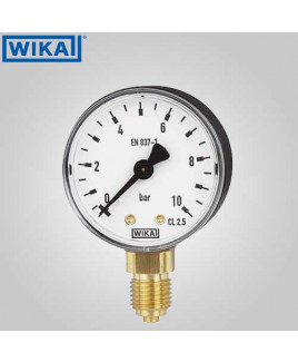 Wika Pressure Gauge With Accessories- Restrictor screw, brass(without filling) 0-10 kg/cm2 with psi 50mm Dia-111.10.50