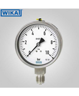 Wika Pressure Gauge With Adjustable Pointer (without filling) (-1)-0 kg/cm2 with psi 100mm Dia-232.50.100